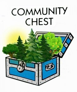 Monopoly community chest filled with forest
