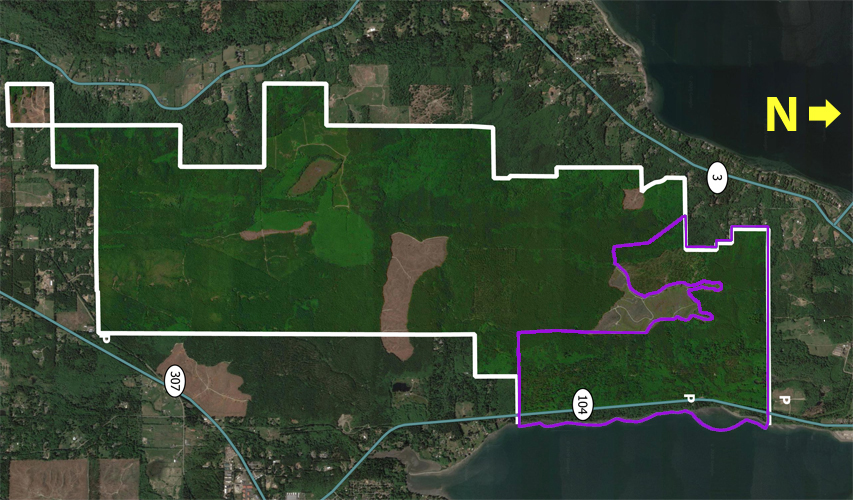 Purple outlines the area of PGFHP safe from logging